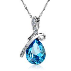 Fashion Blue Crystal Water Drop Pendant Necklace Rhodium Plated Zircon Necklaces & Pendants For Women,Fashion Jewelry @buycoolprice