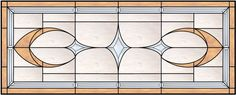 Transom Stained Glass Window With Outer Border and diamond and Kite Bevels