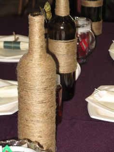 Jute Wrapped Wine Botles by OpenCageSales on Etsy, $6.25