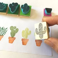 of 5 mini cactus rubber stamps with box, Tropical stamping Hand carved cactus rubber stamps. New bigger set! By CassaStampsHand carved cactus rubber stamps. New bigger set! By CassaStamps Mini Cactus, Cactus Flower, Flower Bookey, Flower Film, Flower Pots, Diy Pencil, Eraser Stamp, Stamp Carving, Handmade Stamps