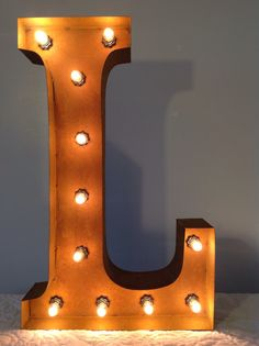 24 Vintage Marquee Light Letter L rustic 24 by MarqueeWholesales