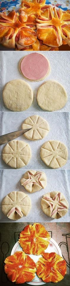 Beautiful Semmel like lRolls with ham in the middle. How to achieve step by step Good Food, Yummy Food, Bread And Pastries, Russian Recipes, Snacks, Creative Food, Food Design, Appetizer Recipes, Food To Make