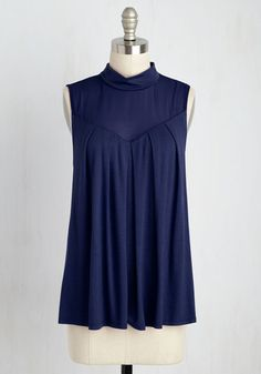 Take Ceviche Day as It Comes Top in Navy - Blue, Solid, Party, Sleeveless, Knit, Better, Exclusives, Private Label, Crew, Mid-length, Work