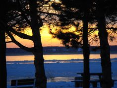 Winter sunsets are so colorful. Saint-Laurent river, Quebec, Canada