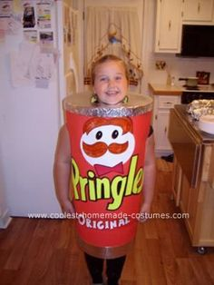 Homemade Pringles Can Halloween Costume: I made this Homemade Pringles Can Halloween Costume for my daughter. This is made from poster board and tape. I used 2 red poster boards for the sides