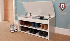 Organise shoes and save floor space with this lift-up shoe cabinet available in four colours