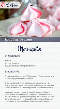 Merenguitos Espumillas Recipe, Recipe For Mom, Pan Dulce, Fancy Desserts, Cookie Designs, Food Humor, Cute Cakes, Cakes And More, No Bake Cake