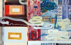 JUAN USLÉ. Ojos desatados, 1994-1995. 152,5 x 244 cm. Temple vinílico y pigmentos en tela sobre madera
