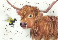 Cow & Bumble bee Original watercolour painting Size A4 by Casimira Mostyn