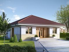 Two bedroom house plans - Houz Buzz Bungalow Haus Design, Modern Bungalow House, House Design, Beautiful House Plans, Simple House Plans, Hip Roof Design, Tiny Guest House, Two Bedroom House, Design Exterior