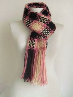 Pink crochet scarf on Etsy
