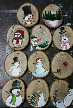 Christmas_tree_ornaments christmas_decorations adventseason winterwonderland snowman christmas by michael andreas lang These Christmas ornaments or tree decorations are made by painting on slices of tree branch or log. Christmas Ornament Crafts, Wood Ornaments, Christmas Projects, Kids Christmas, Holiday Crafts, Snowman Ornaments, Christmas Trees, Vintage Christmas, Painted Wood Crafts