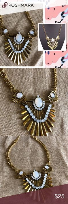 New Listing  Statement Necklace -  Gold & White Gorgeous Statement Necklace NWT, Antique Gold and White  Love to Bundle  Reasonable Offers Welcomed Jewelry Necklaces