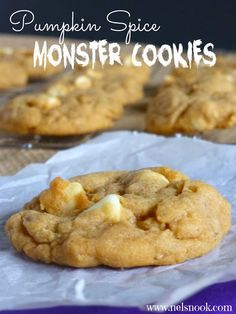 Pumpkin Spice Monster Cookies - easy to make cookies that are full of fall flavor! www.nelsnook.com