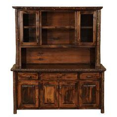 Amish Rustic Hickory Hutch Log Cabin Dining Furniture Lodge China ...