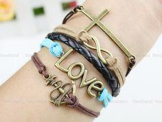 Love Bracelet, Cross Bracelet, Anchor Bracelet, Infinity Bracelet, Charm Bracelet, Thin Cord Leather Braid Bracelet Adjustable Weave Bangle