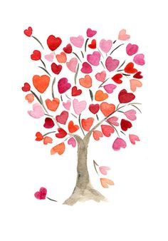 The Hearts Tree Art Print of original watercolor painting, anniversary, valentine day, birthday, girly, mothers day, limited edtion