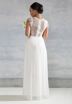 Perennial Poise Dress in White. Bouquet in hand, you glide down the aisle adorned in this exquisite white gown. #cream #wedding #bride #modcloth