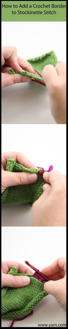 How to Add a Crochet Border to Stockinette Stitch