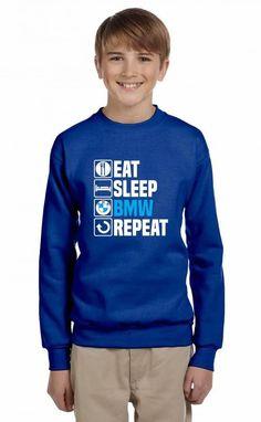 eat sleep bmw repeat Youth Sweatshirt