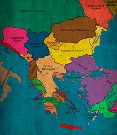 The Bulgarian states during the reign of Tsar Ioan Shishman, circa 1380 AD