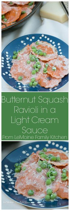 Butternut Squash Ravioli in a Light Cream Sauce. This is such an easy and quick Fall inspired meal. A great pasta dish for weeknight dinner or elegant enough for the holidays.