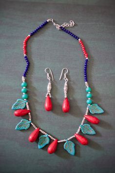 Necklace and earring set Leaf Turquoise Motif by LaMirraFashion, $14.98