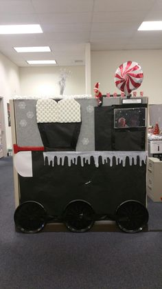 Polar Express. Decorating cubicles at work for Christmas.