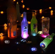 Mix Colors Light Up LED Bottle Coasters with Stickers For Night Club Bottle Decoration 3 Lights - 10 Pcs/Pack