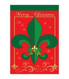 Christmas Fleur De Lis Large Flag