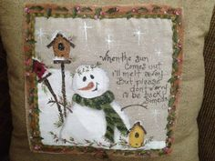 hand painted snowman pillow~would make a great gift