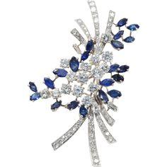 1970s Sapphire & Diamond Brooch   Massoni on RubyLUX