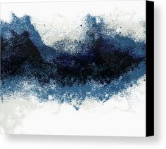 Abstract Canvas Print featuring the painting Crashing Waves- Minimal Art By Linda Woods by Linda Woods