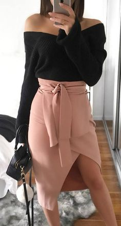 black and blush | off shoulder sweater + bag + skirt #omgoutfitideas #streetstyle #lookoftheday