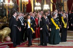 Mexico State Visit to Spain, State Dinner, June 9, 2014-Crown Princess Letizia in the Mellerio Floral Tiara and Queen Sofia in the Fleur de Lys Tiara
