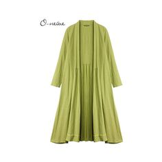 O-NEWE Pure Color Lapel Pleated Trench Coat Cardigan For Women ($40) ❤ liked on Polyvore featuring plus size women's fashion, plus size clothing, plus size outerwear, plus size coats, green, women plus size outerwear, pattern coat, leather-sleeve coats, long sleeve coat and print coat