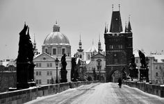 Snow-covered Charles Bridge in Winter, Prague, Black and White