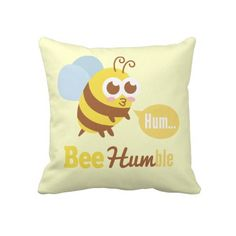 """Funny cartoon of kawaii yellow and brown stripes bee with big cutesy eyes humming along. Tagline reads """"Bee Humble"""". The illustration is a wacky and humorous, homophone play on the words """"Be Humble"""". Amuse your friends with this funny design and yet spread a positive and meaningful message around. Designed by Rusty Doodle."""