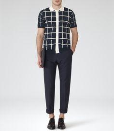 Mens Navy Button Polo Shirt - Reiss Pacha
