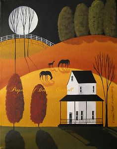 ORIGINAL-PAINTING-folk-art-landscape-Autumn-Fall-horses-foal-colt-farmhouse