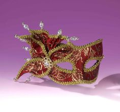 Fancy Red and Gold Venetian Mask - Party Depot