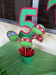 ninja turtles centerpieces | Ninja turtles birthday decorations | Jovan