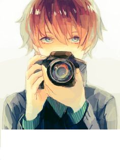 Anime Boy w/ Camera. His eyes are very beautiful and I like the soft muted colors and lines too. <---he likes photography! He's mine, I called him :3