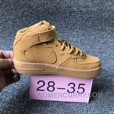 af7562b116 NIKE AIR FORCE 715889-200 Kids Preschool AF1 Wheat Children Cheap To Buy