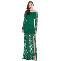 Vestido Largo Encaje Verde Manga Larga   Suen-Vestidos de fiesta
