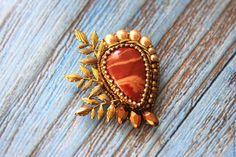 """Купить Брошь """"У осени золотое сердце"""" - брошь, сердце, осень, золотой, песочный, горчичный"""