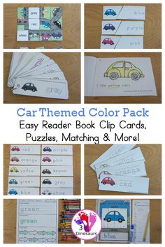 Car Color Pack - with 63 pages of printables with color easy reader book, color clip cards, color tracing strips, color writing strips, color pocket chart cards, color word writing, color word puzzles, and more all to work on learning color words. This is a great transportation theme - 3Dinosaurs.com- - 3Dinosaurs.com #colorsforkids #colorpack #3dinosaurs #prek #kindergarten #colorwords Preschool Learning Activities, Color Activities, Word Puzzles, Puzzles For Kids, Transportation Activities, Easy Reader, Beginning Reading, Learning Colors, Word Families