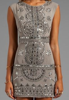 Gray sequin party dress