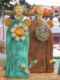 anděl - dřevo+keramika