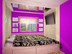 Дизайн узкой спальни - узкой длинной комнаты, в хрущевке, с балконом, 12 кв. м., 2 на 5, 36 фото